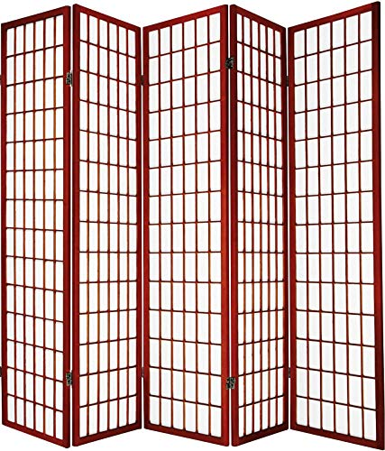 Legacy Decor Japanese Oriental Style Room Screen Divider Black, Cherry, Natural, Espresso or White Color (5 Panel, Cherry)