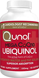 Qunol Mega Ubiquinol CoQ10 100mg, Superior Absorption, Patented Water and Fat Soluble Natural Supplement Form of C0Q10, An...