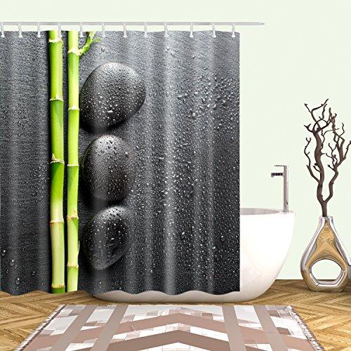 Hibbent Duschvorhang Anti-Schimmel Waschbar 180x180 cm 12 Duschvorhangringen-Bambus und Stein