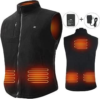 Heated Vest Size Adjustable 7.4V Battery Electric Fleece Warm Vest 6 Heating Panels for Hiking Camping