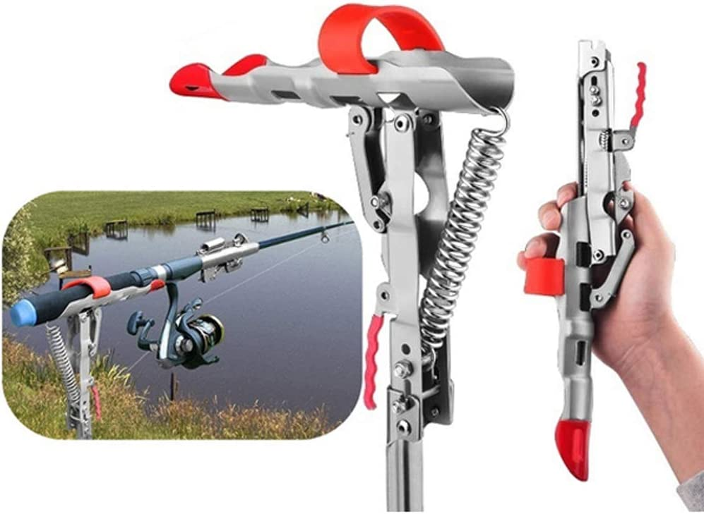 Details about  /Lifting Fishing Rod Pole Ground Mount Holder Bracket Stand w// Tip-Up Hook