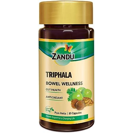 Zandu Triphala Capsules, Supports Bowel Wellness & Healthy Gut, Helps to Boost Immunity - 90 Veg Capsules