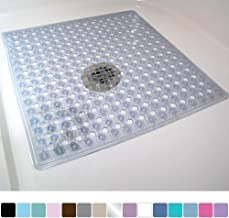 Gorilla Grip Original Patented Bath, Shower, Tub Mat, 21x21, Machine Washable, Antibacterial, BPA, Latex, Phthalate Free, Square Bathroom Mats with Drain Holes, Suction Cups, Clear