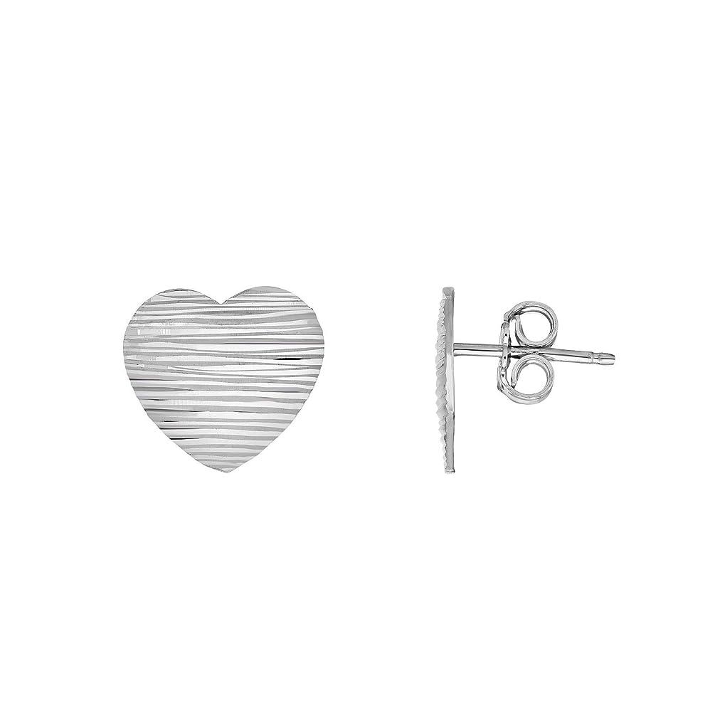 セメント近代化深遠Sterling Silver Heart Stud Earrings