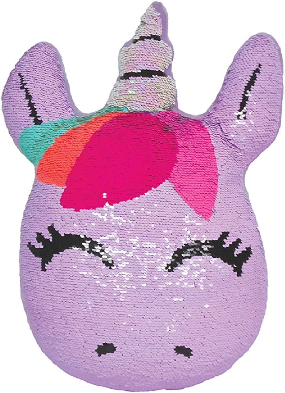 Iscream Sweet Unicorn 7.5  x 9.5  Reversible Sequin Soft Fleece Back Mini Pillow
