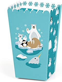 Big Dot of Happiness Arctic Polar Animals - Winter Baby Shower or Birthday Party Favor Popcorn Treat Boxes - Set of 12