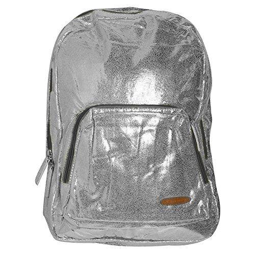 Silberner Rucksack glänzend 45 x 35 cm Daypack silber