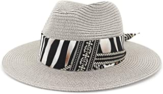 Outdoor Bucket Sun Hat Women Summer Straw Sun Hat Jazz Two-Tone Ribbon Panama Beach Hat Fedora Hat Travel Outdoor Vacation Sun Hat (Color : Gray, Size : 56-58CM)