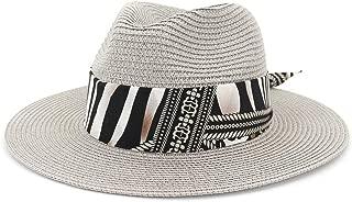 Sun Hat for men and women Summer Women Straw Sun Hat Jazz Two-tone Ribbon Panama Beach Hat Fedora Hat Travel Outdoor Vacation Sun Hat Sombrero