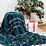 """Bedsure Christmas Plaid Blanket Throw Size, Soft Chenille Decorative Blanket with Tassel for Couch, Sofa, Bed and Home Decor (Green, 50""""x60"""")"""