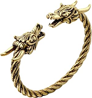 Men's Double Head Dragon Bracelet, AILUOR Norse Viking Adjustable Stainless Steel Gold Sliver Cuff Cool Polished Twisted A...