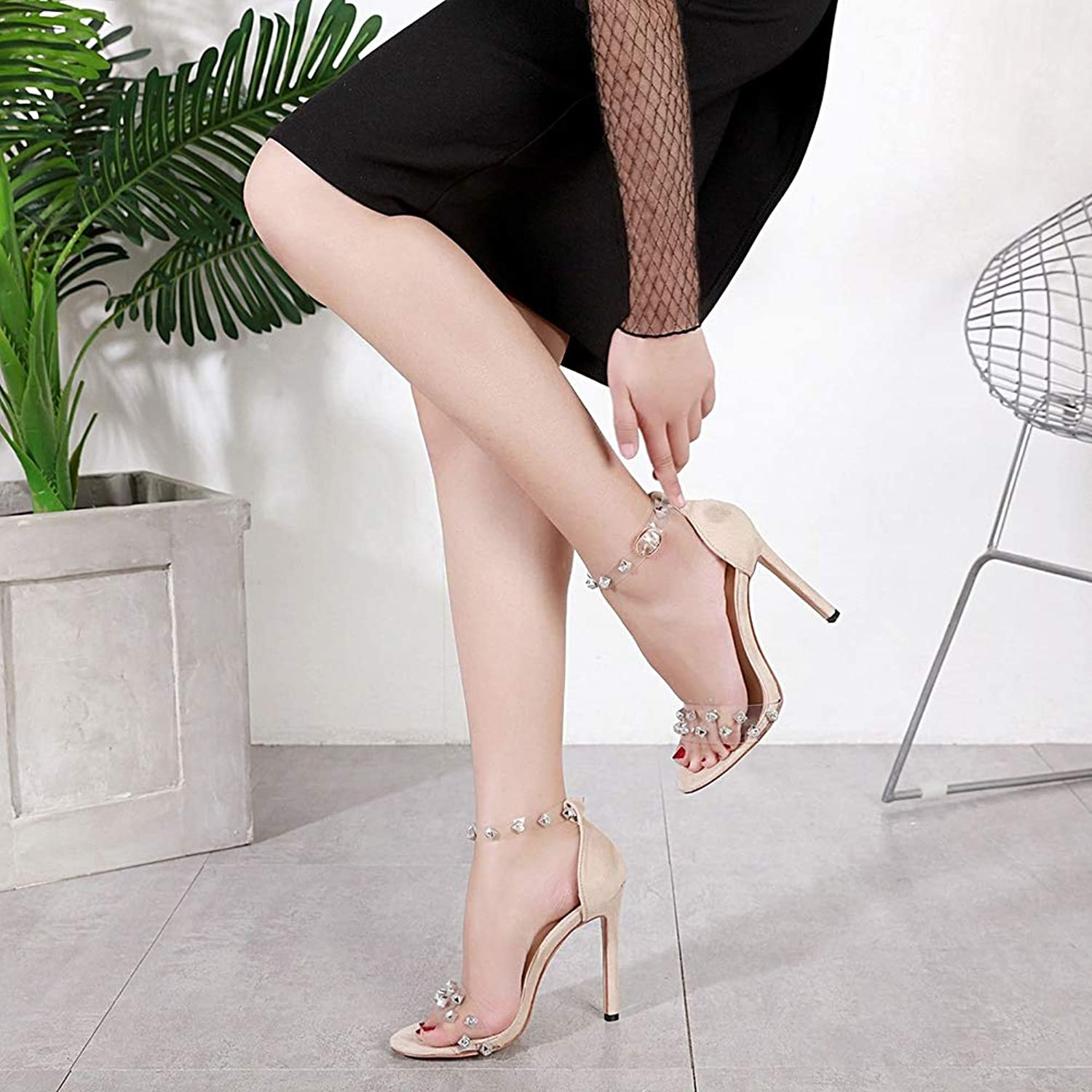 Women's Sandals with A Rivet Female High Heel Women's shoes Open Toe Slip Breathable Lining Comfortable Women's High Heel Sandals,Apricot,35
