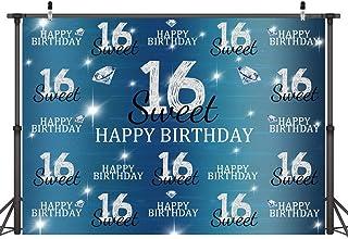 Fotohintergrund zum 16. Geburtstag, königsblau, Prinzessin, Mädchen, Diamanten, Glitzer, Fotohintergrund, 16 Jahre, Kuchendekoration, Banner, Fotoautomat, Studio Requisiten, 152 x 91 cm