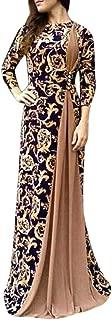 Big Sale BBesty Women Dubai Arabian Floral Print Long Dress Muslim Dress Islamic Long Dress,Travel,Work,Casual