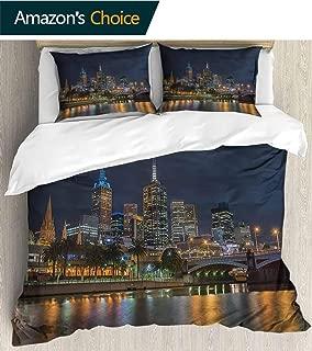 PRUNUSHOME Hotel Collection Soft Luxury Bed Sheets Breathable Skyline Melbourne City Princess Bridge Victoria Australia Warm 3 Piece Set King