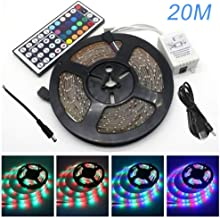 LED Light Strips with Remote, 20m RGB Led Lighting Strips Colour Changing Led Strip Lights with 44-Keys IR Remote Controll...