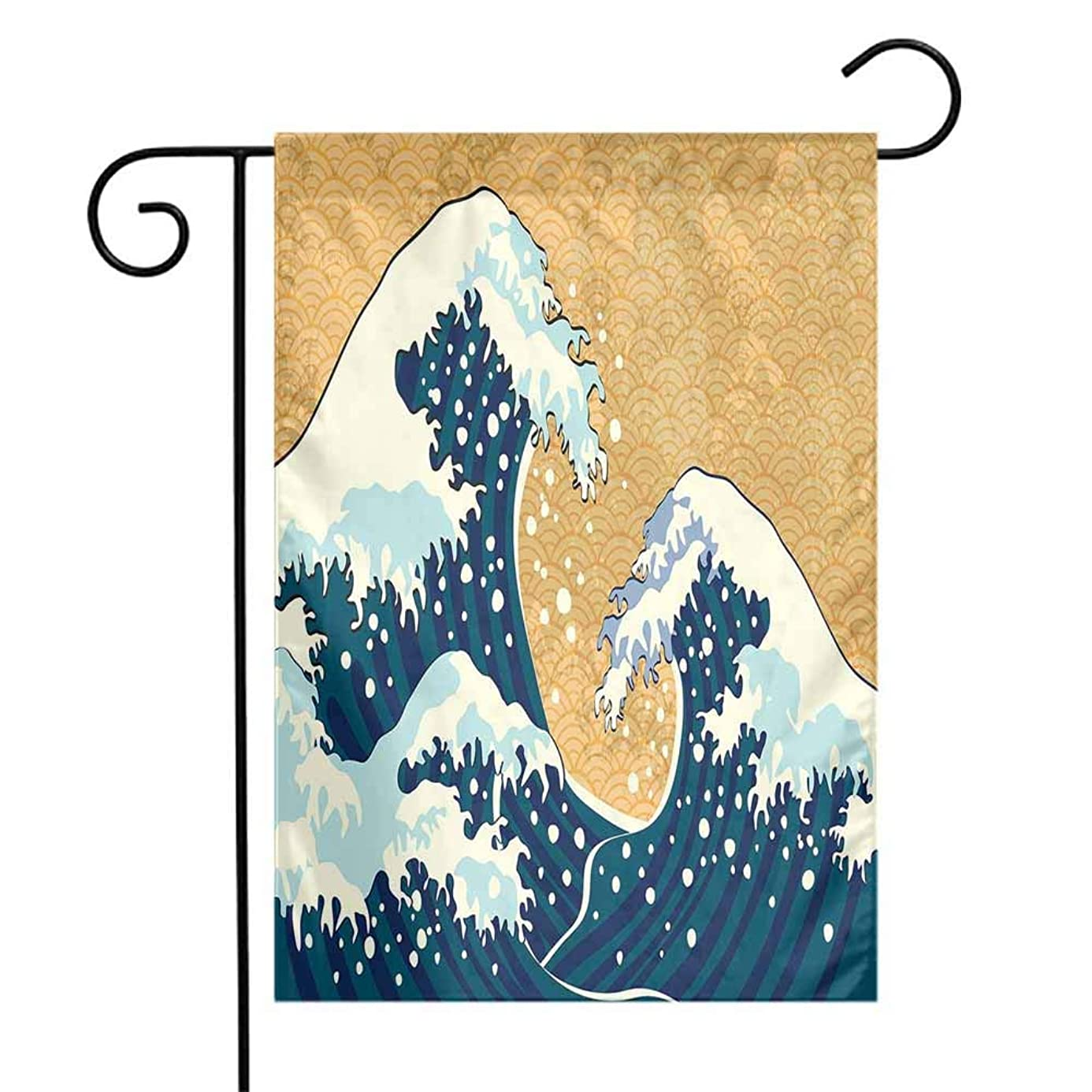 Mannwarehouse Japanese Wave Garden Flag Sea Storm in Japan Traditional Drawing Foamy Great Waves Premium Material W12 x L18 Earth Yellow Dark Blue White dek4713509
