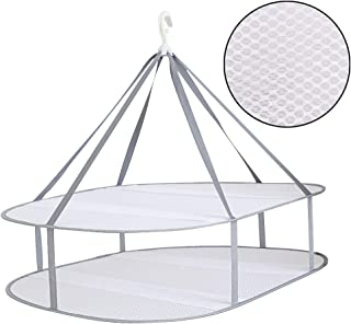 AYE Large Size Sweater Hanging Dryer, 2 Tier Folding Drying Rack, Lay Flat to Dry Mesh Clothes Hanger for Sweater, Delicates and Swimsuit