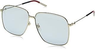 0394 Gold Light Blue Sylvie Square Metal Sunglasses