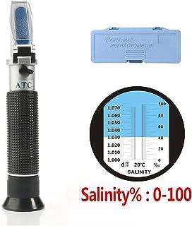 Hippopy Salinometer Portable Handheld ATC Salinometer Seawater Salinity with 0-100% Measuring Range 1.00-1.07 Specific Gra...