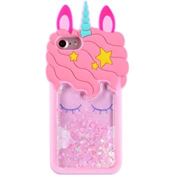 Mulafnxal Quicksand Unicorn Case for iPhone 5 5S iPhone SE,Soft Cute Silicone 3D Cartoon Animal Cover,Shockproof Cases,Kids Girls Bling Glitter Rubber Kawaii Character Fashion Protector for iPhone 5C