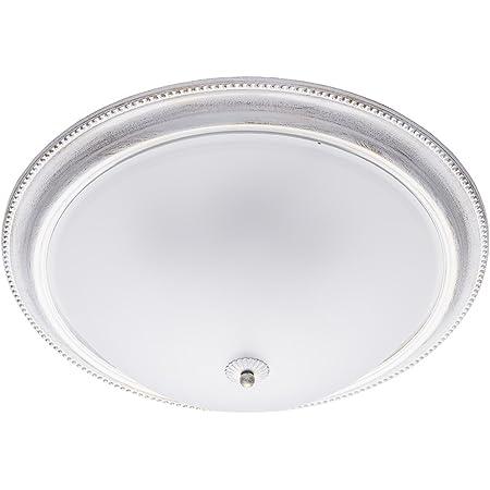 MW-Light 450013505 Plafonnier Luminaire Rond Design Classique en Métal Blanc Doré Abat-jour en Verre Mat pour Salon Chambre Cuisine Diam.52Cm 5x60W E27