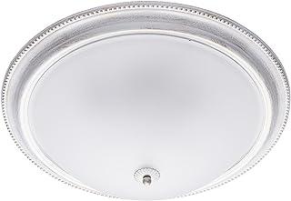 MW-Light 450013505 Plafonnier Luminaire Rond Design Classique en Métal Blanc Doré Abat-jour en Verre Mat pour Salon Chambr...