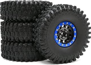 4pcs RC 1.9 Super Swamper Crawler Tires Tyre Height 120mm & Aluminium 1.9 Beadlock Wheel Rim Hex 12mm