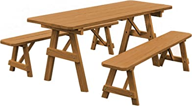 product image for Pressure Treated Pine 6 Foot Picnic Table with Detached Benches- Oak Stain
