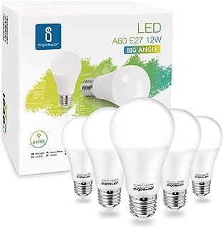 Aigostar - Bombilla LED A60 12W, Lámpara E27, 1020 lúmenes, Luz blanca fría 6400K, Ángulo 280º, no regulable - Caja de 5 unidades