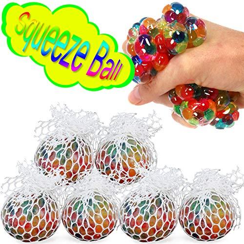 com-four® 6X Balle Anti-Stress pour Enfants et Adultes - Ballon de TPE pour Presser dans Le Filet dans différentes Couleurs