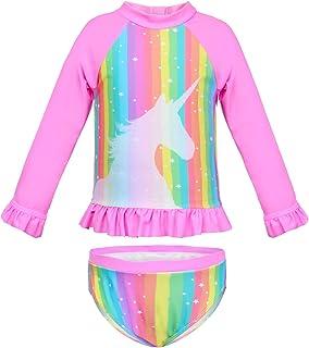 Sylfairy Girls 2-Piece Rash Guard Swimsuit Long Sleeve Bikini Swimwear Bathing Suit Breathable Tankini (Pink)