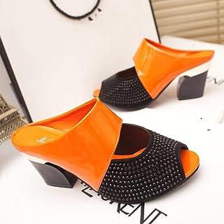 Women Slippers Square Heel Summer Shoes Woman Fashion Slides Open Toe Slip On Female Sandals