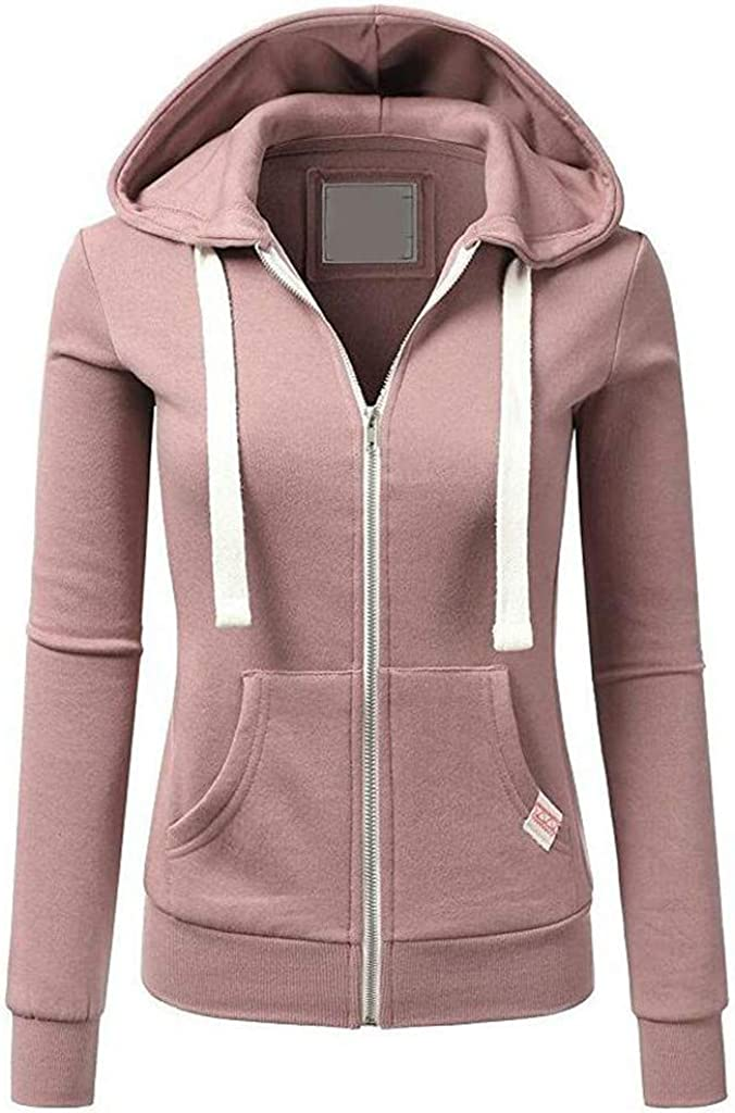 Cardigo Casual Womens Long Sleeve Patchwork Solid Color Hooded Zipper Sport Coat Jacket
