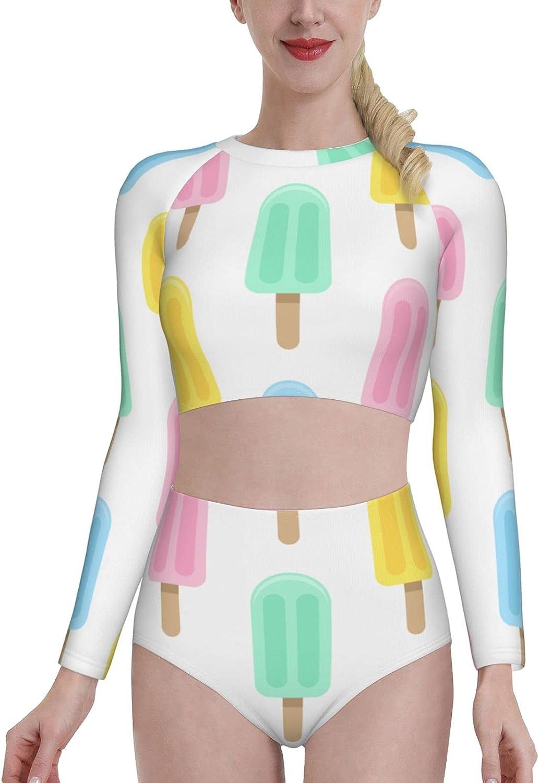 KUOAICY Multicolor Popsicle Women's Rash Guard Long Sleeve Bathing Suit with Bra Swimsuit High Waist Pants