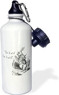 3dRose Alice in Wonderland White Rabbit. Im Late-John Tenniel illustration-Sports Water Bottle, 21oz (wb_193791_1), Multicolored