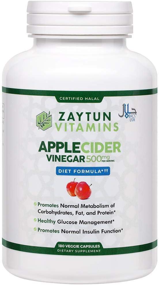 Limited time sale Zaytun Vitamins Halal Apple Cider Vinegar Digestive Max 41% OFF Supports Hea