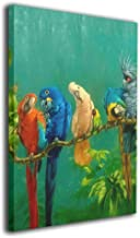 Warm-Tone Art Colorful Parrot Birds On The Tree Canvas Prints Wall Art Oil Paintings For Living Room Dinning Room Bedroom Home Office Modern Wall Decor 16x20 Inch