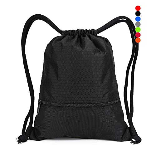 dd6b7cda745 Double Sturdy Drawstring Bag With Pockets Waterproof   For Gym Sports    Workout Gear   Large