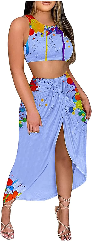 Women Summer Dress Suit Round Neck Two Piece Sets Floral Graphic Sundress Sleeveless Slit Beach Dress Long Maxi Skirt