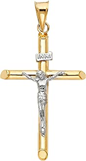 28mm x 27mm 14K Two-tone Gold Religious Fancy Crucifix Charm Pendant