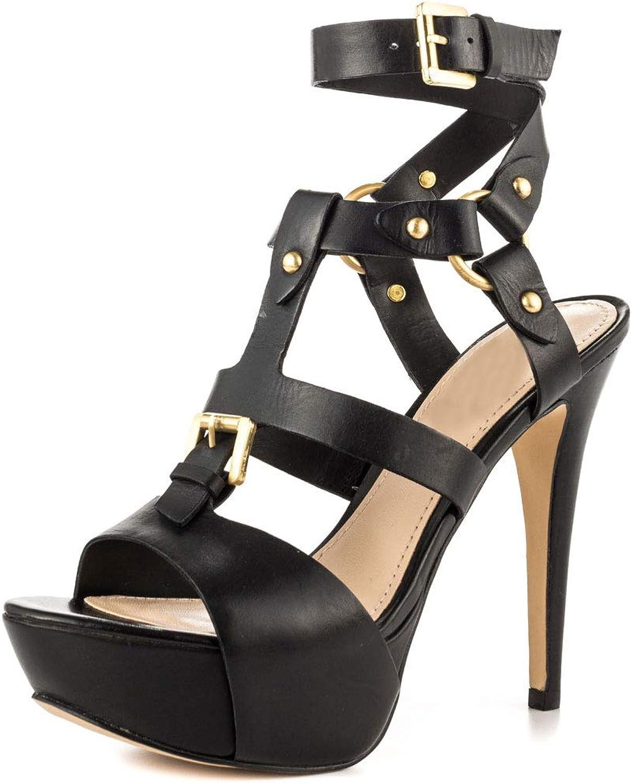 Original Intention Sexy Straps Stiletto High Heel Black Sandals for Women