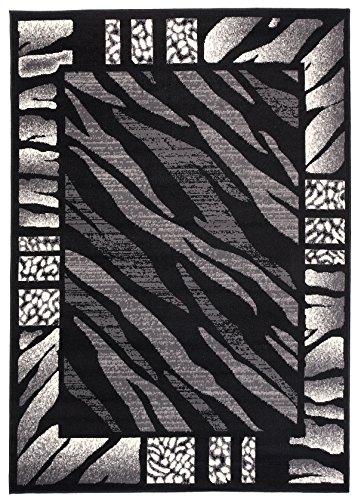 Carpeto Teppich Tiermuster Schwarz Weiss Zebra Animal Safari Tierfell - ÖKO TEX (160 x 220 cm)