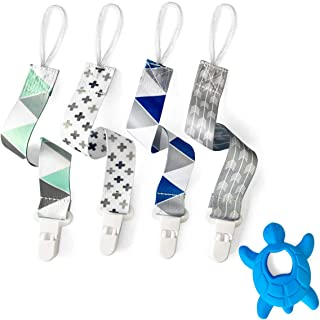 Bbnjbaby Pacifier Clips 4 Pack with Teether for Boy