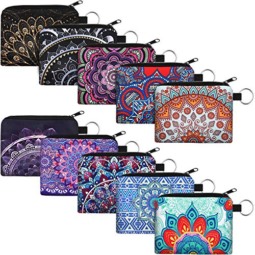 10 Pieces Small Coin Purse Boho Change Purse Pouch Mini Wallet Coin Bag with Zipper Exquisite Present for Women Girls on Valentine's Day (Flower Print, 4.52 x 3.74 Inch)