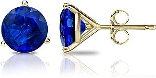 Diamond Wish 14k Yellow Gold Round Blue Sapphire Gemstone Stud Earrings (1 1/2 carat TW) 3-Prong Martini, Push Back