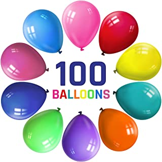 100 Pcs Party Balloons, 12 Inches Rainbow Balloons Set, Solid Latex Colored Party Balloons Bulk For Helium Or Air Use, Wedding Birthday Party Decoration, 10 Assorted Colors