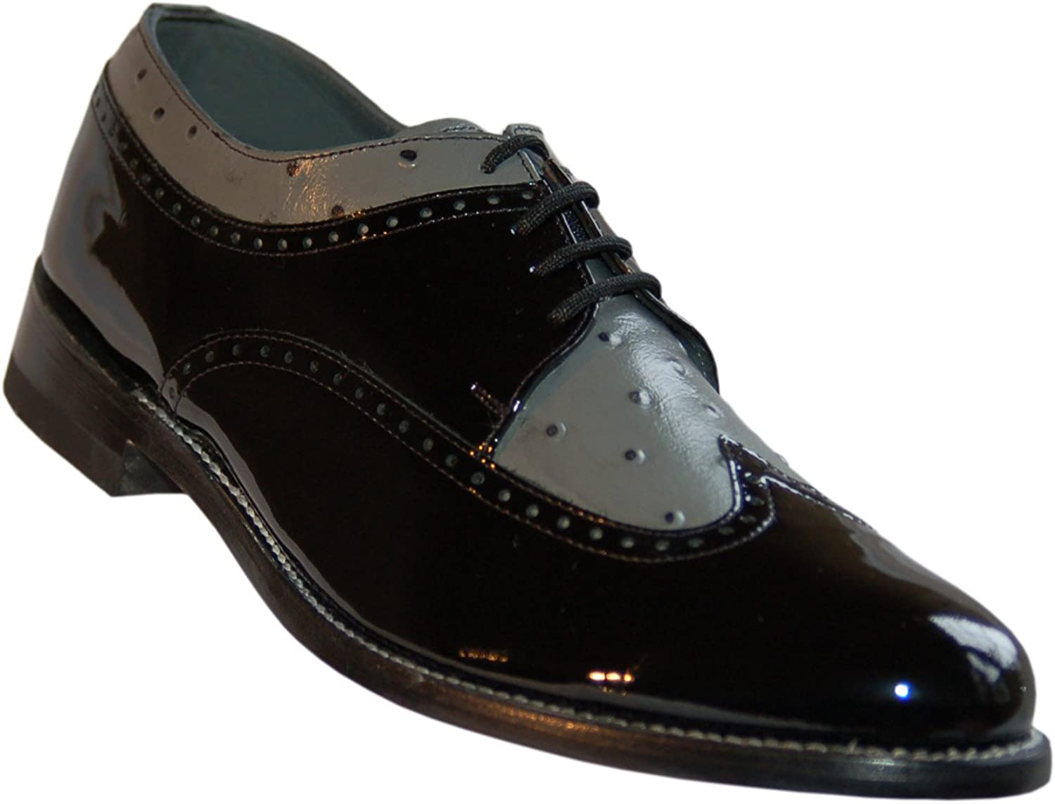 Stacy Baldwin Black and Grey Wingtip Spectator Two Tone Oxfords Leather shoes with Leather Soles_