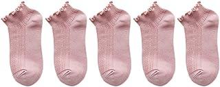 Scrox 5 Pares Calcetines Mujer Invierno Socks Corto Algodón Lindo Encaje Casual Caliente Otoño Piso Calcetines de Barco Original Chica Regalo (Rosa)