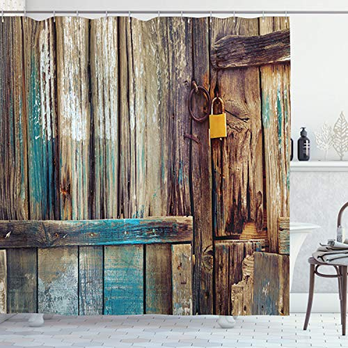 """Ambesonne Rustic Shower Curtain, Aged Shed Door Backdrop of Color Details Country Living Exterior Pastoral Mansion Weathered Art Image, Cloth Fabric Bathroom Decor Set with Hooks, 75"""" Long, Brown Teal"""